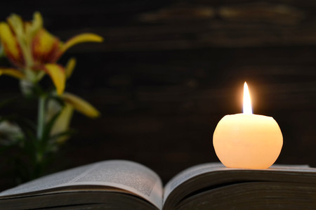 Candle, opened book and flowers  on dark wooden background Banco de Imagens