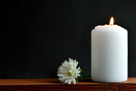 Burning candle and flower on dark background Imagens