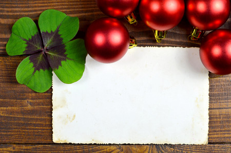 red clover: Christmas card with blank paper background
