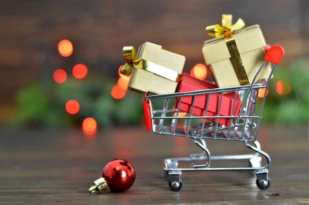 Christmas gifts shopping Stok Fotoğraf