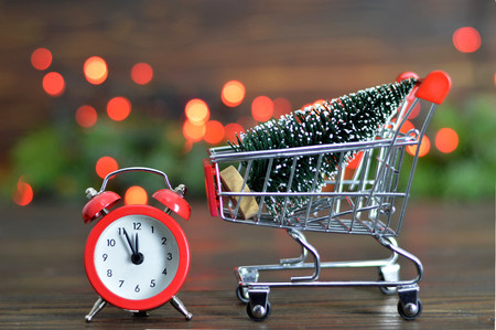Shopping cart with Christmas tree Stock fotó - 87794016