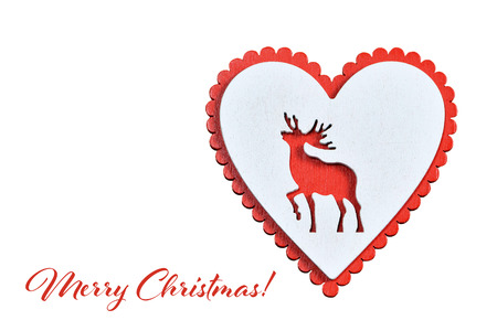 Merry Christmas card with heart ornament isolated on white background