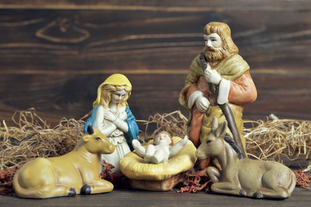 Christmas nativity scene with holy family Stock Photo