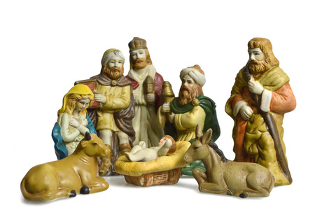 Nativity scene with holy family and three kings isolated on white background Stock Photo