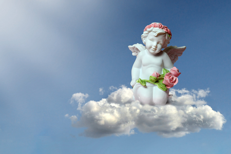 Guardian angel on the cloud 스톡 콘텐츠