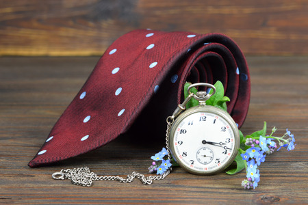 Fathers Day gift. Fathers Day tie, flowers and vintage pocket watch