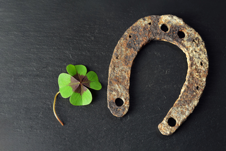 Horseshoe and lucky clover on black background