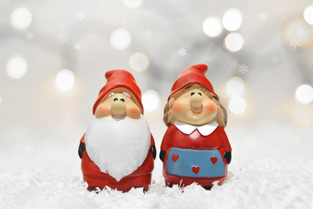 Santa Claus and his wife. Christmas card Stock Photo