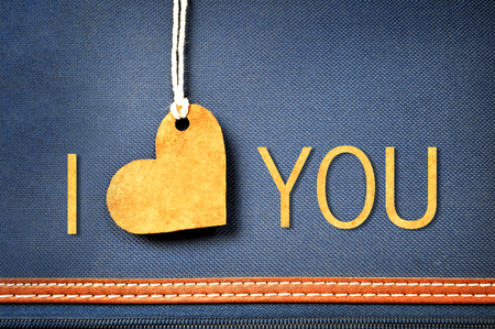 I love you message on denim background. Valentines Day background