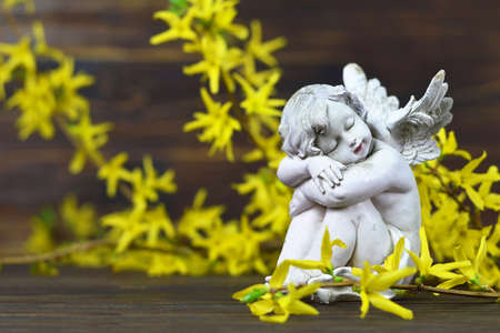 Angel guardian and spring flowers