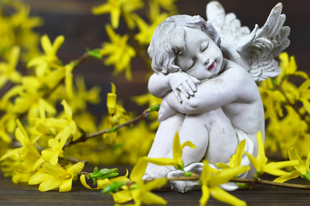 Guardian angel and yellow forsythia flowers