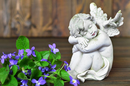 Angel and violets on wooden background Imagens - 116891322