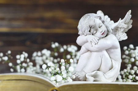 Angel and white flowers on vintage book Imagens - 116891087