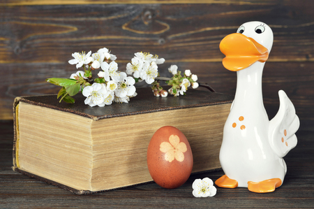 Easter decorations on wooden background 写真素材
