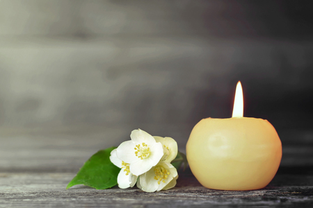 Memorial candle and flower