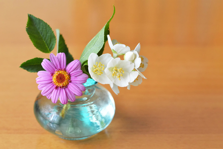 Flowers in vase. Floral background with copy space Imagens