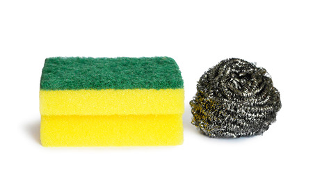 Stainless steel scrubber and kitchen sponge isolated on white background