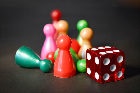 Board game figures and dice