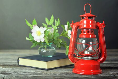 Still life with vintage oil lamp, book and dog rose flowers in vase on wooden background 写真素材