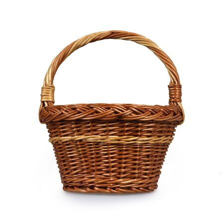 Wicker basket isolated on white background Imagens