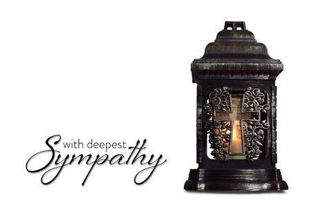 Sympathy card with burning candle isolated on white background Imagens