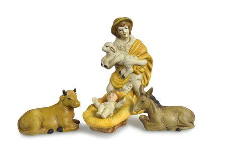Christmas nativity scene isolated on white Zdjęcie Seryjne - 134806360