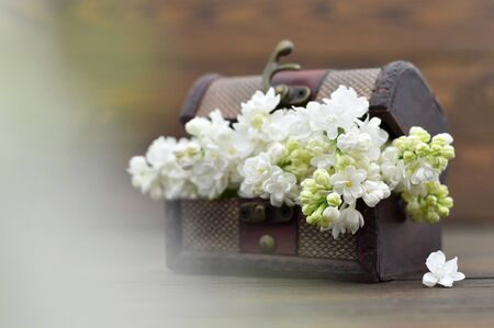 Lilac flowers in wooden chest