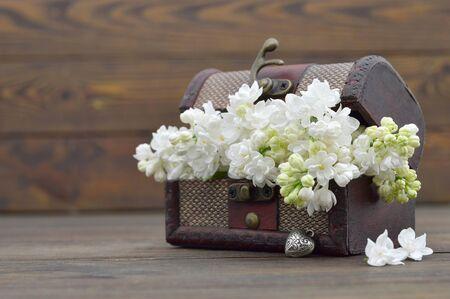 Wedding flowers in wooden vintage chest