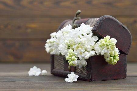 Mothers Day flowers in the wooden vintage chest