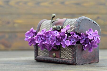 Violet lilac flowers in wooden chest
