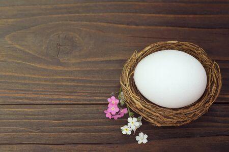 Easter egg in nest on wooden background Zdjęcie Seryjne