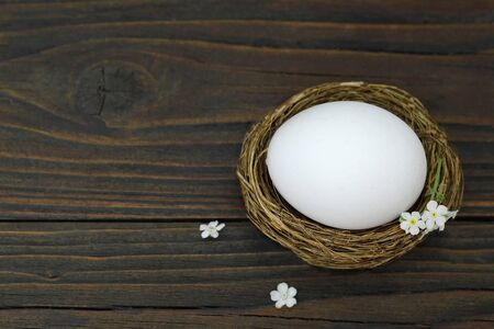 Easter card with white Easter egg in nest on wooden background