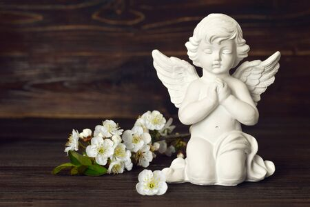 Guardian angel and spring flowers on dark background