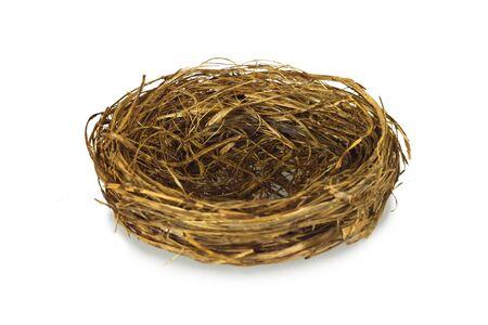 Empty bird nest isolated on white background