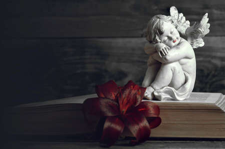 Condolence card. Angel and lily flower on open book on dark background Stock fotó