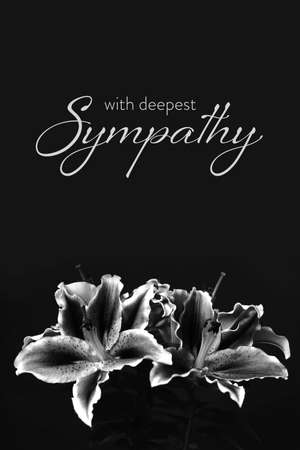 Sympathy card. Funeral flowers isolated on black background
