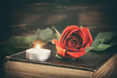 Memorial candle and red rose Stock Photo