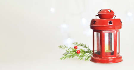 Christmas background with vintage lantern and copy space