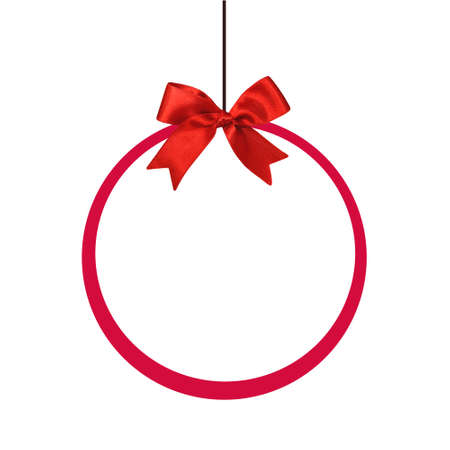 Round holiday frame with red silk bow isolated on white background Banco de Imagens