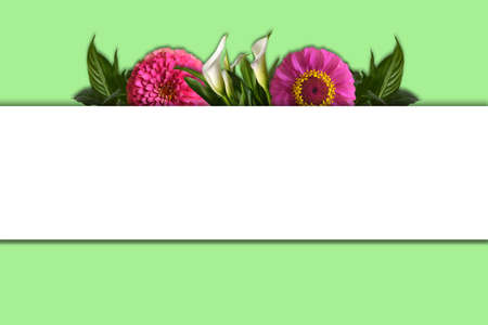 Mothers Day greeting card with bunch of flowers and copy space
