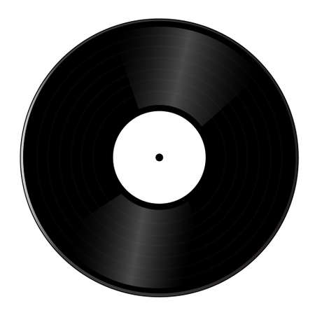 Realistic vinyl record isolated on white background. Illustration