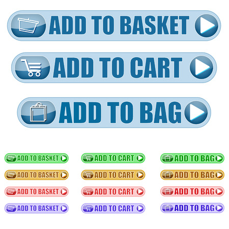 add to cart: a set of Add to cart Icons in different colours  Illustration