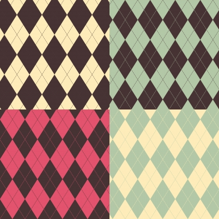 A set of four Argyle Seamless patterns Vector