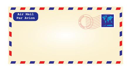 old envelope: a detailed illustration of an air mail envelope