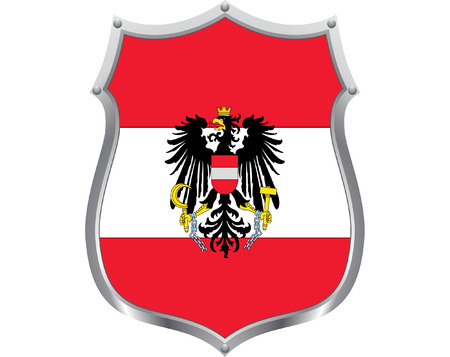 a metal shield with the flag of Austria on it