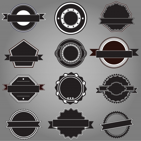 set of twelve black and white badges without any words ready for you to add your own text Vector