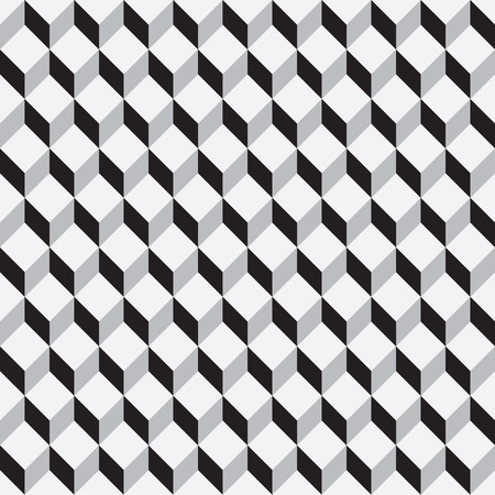 an abstract cuboid seamless pattern in shades of grey Illustration