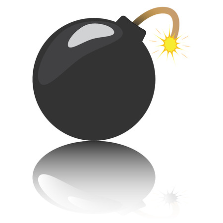 a cartoon bomb with a reflection underneath it Vector