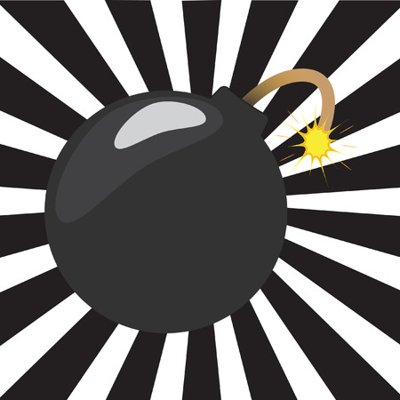 Cartoon bomb with a black and white sunburst background Vector