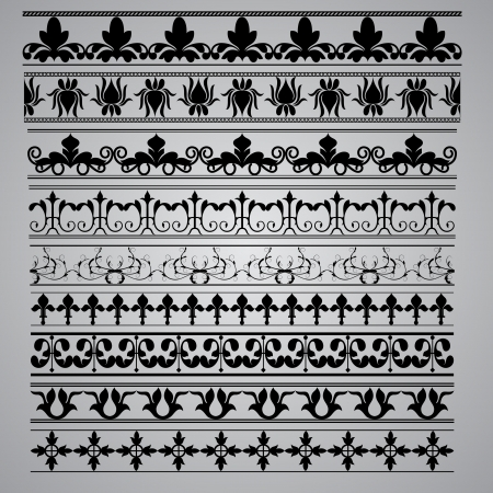 Set of nine Border brushes in different designs for your designs